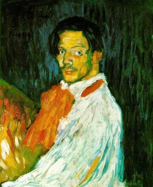 파블로 피카소  자화상 1901   캔버스의 유채, 73.5 x 60.5 cm   개인소장       블루피어리어드의 작품과는 다른 느낌의 자화상이다.  피카소는 입체파적 회화를 구현하기 전에 색채의 도전도 하였덛 것같다.