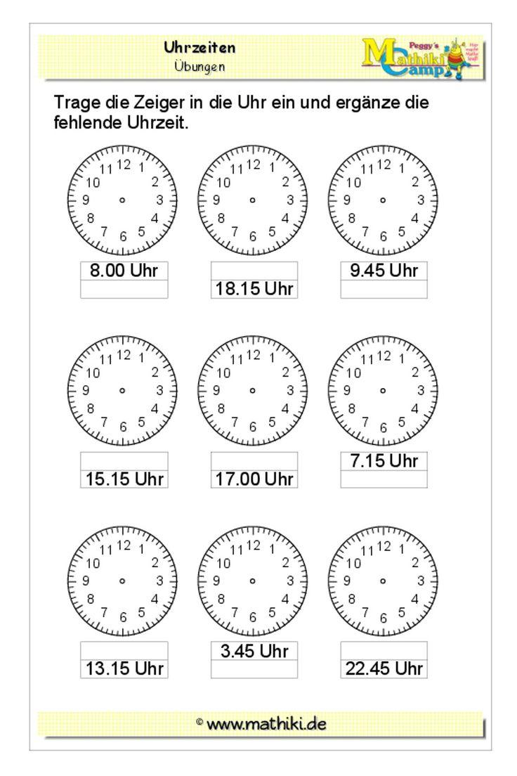 Uhrzeiten Klasse 20   kostenloses Arbeitsblatt mit Lösungen als ...