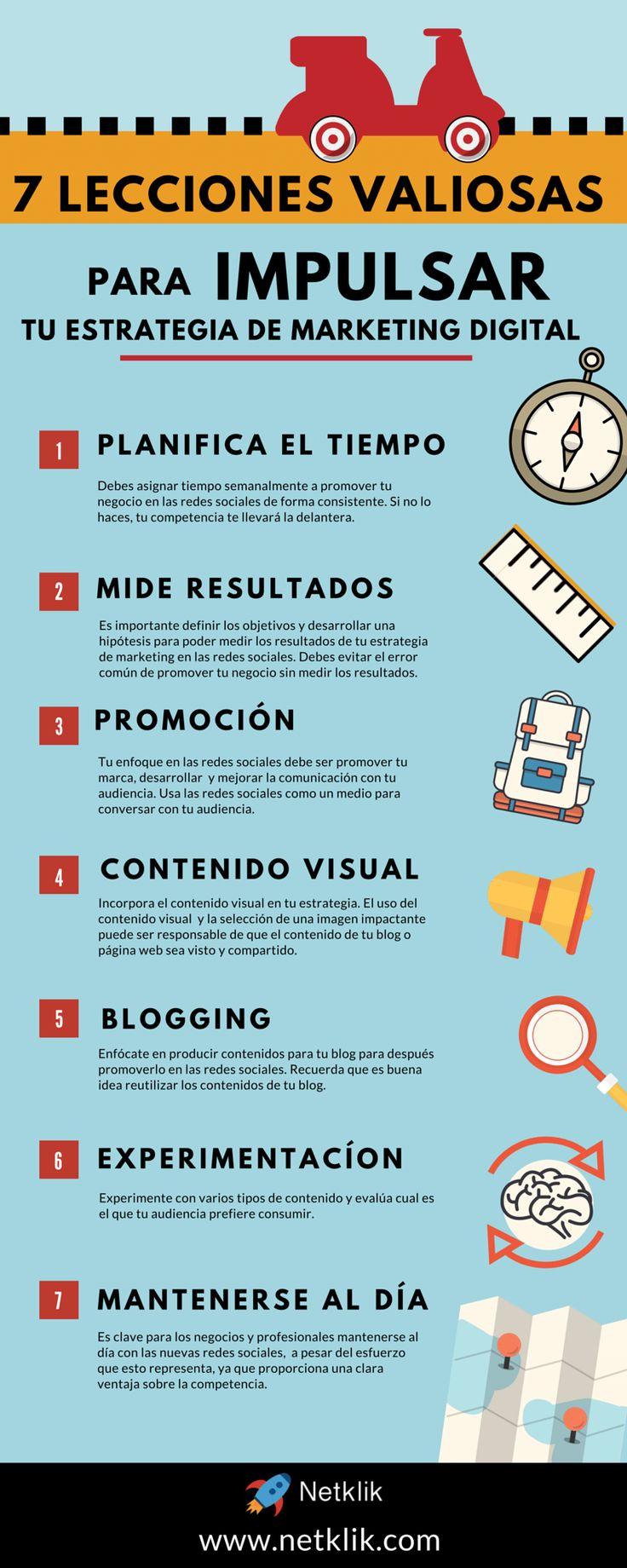 Descubre las 7 lecciones para impulsar tu estrategia de marketing digital #infografia #estrategiamarketingdigital #infographic