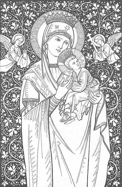 Boost your creativity + calm with adult coloring! Beautiful Mother Mary coloring page.