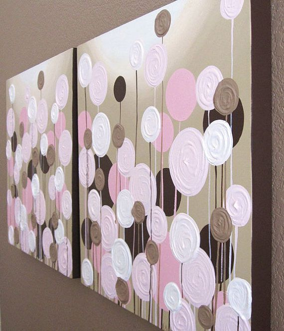 Pink And Brown Nursery Art Abstract Textured Flowers Set Of Two 20x20 Acrylic Paintings