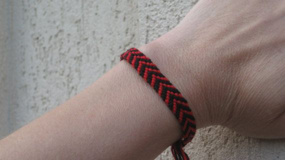 Red and Black Chevron Friendship Bracelet by SaxophoneChick, $4.00