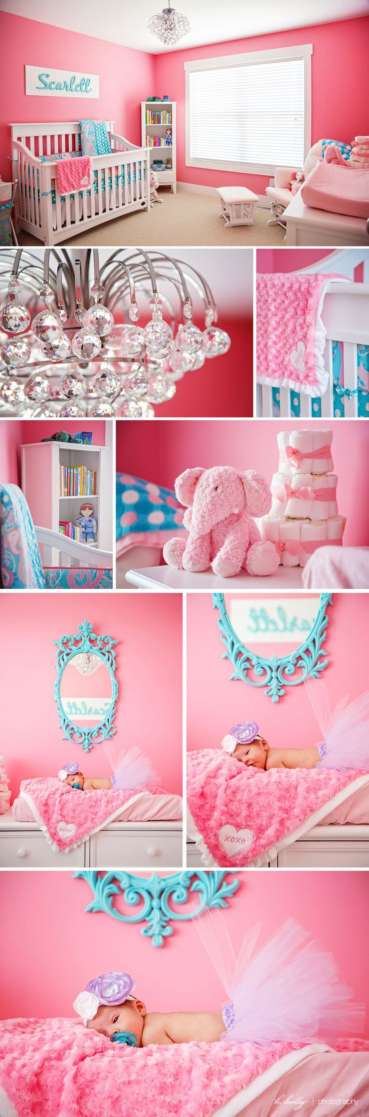 Pink and blue... Madysons room is already done but this is suuuuuuuuper cute... if next baby is a girl... this is my inspiration