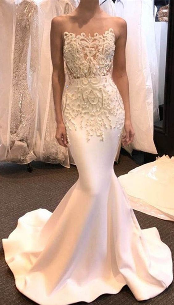 mermaid bodycon prom dress, elegant strapless party dress,