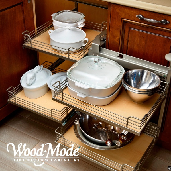 Kitchen Cabinets Corner Solutions: Blind Corner Pull-outs For Storage Of Pots And Pans And