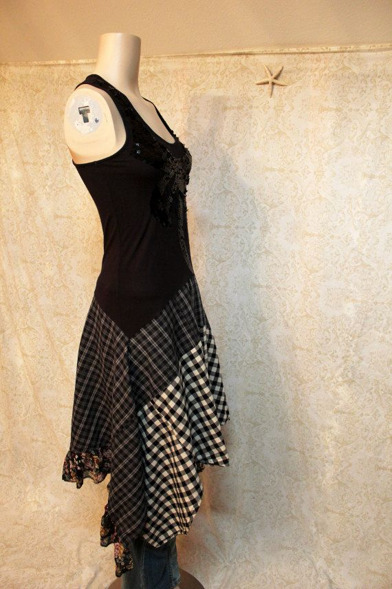 Boho Tank Top Dress, Romantic Bohemian Artwear Junk Gypsy Style, Shabby Chic Country Girl, Grunge Style Plaid