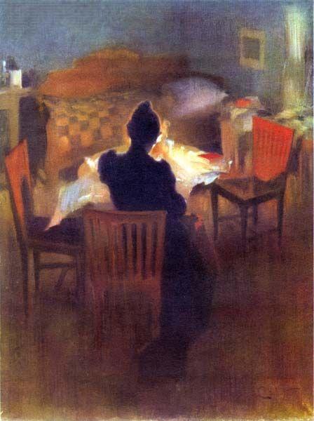 """Carl Larsson """"Ljusinteriör från Dalarna"""" (1890). Akvarell. Göteborgs Konstmuseum."""