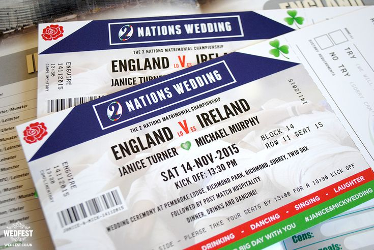 Ireland vs England Rugby Ticket Wedding Invitations