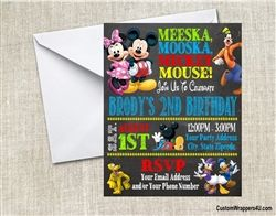 Mickey mouse clubhouse birthday party invitation chalkboard