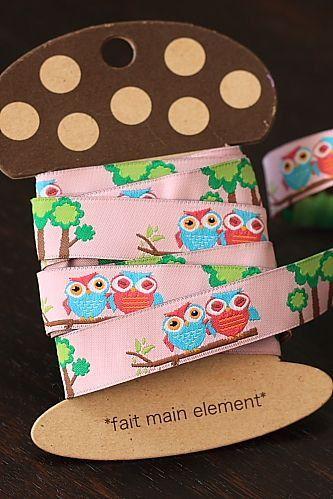 RibbonSewing TapeJacquard Ribbon 1 yardPink Owls by sugarbsupplies, $4.00