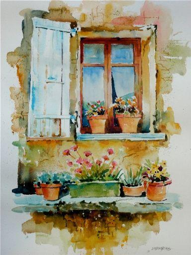Tuscany Paintings Of Windows | Tuscan Villa Window by David Lobenberg