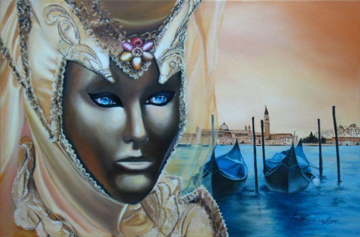 "Artista Patricia Valor .""Venecia"" oleo 40 x 60 cm"