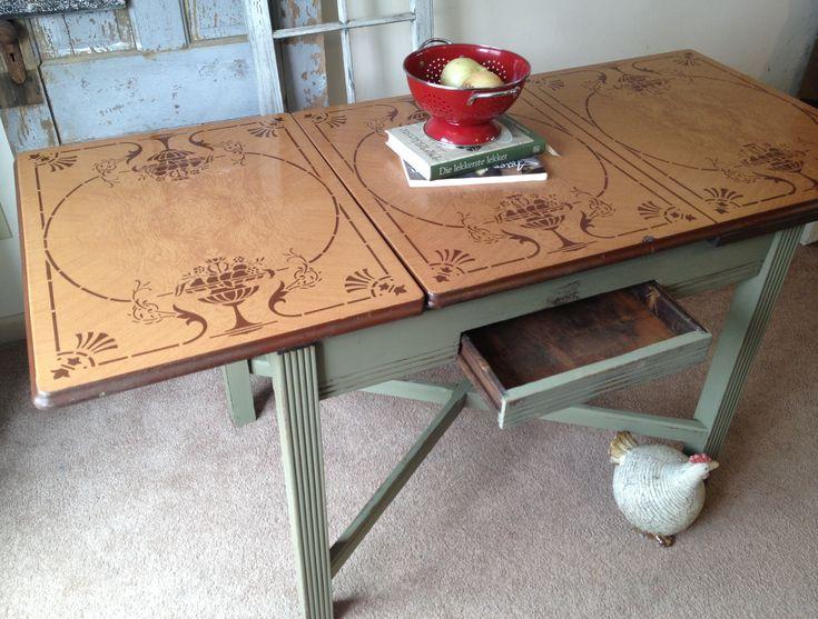 Vintage Red White Porcelain Enamel Top Kitchen Table ...