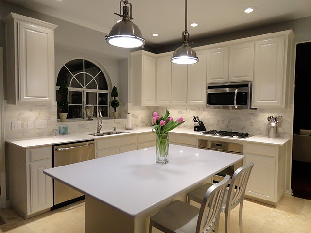 Grey Subway Tile Backsplash >> White Kitchen with Calacatta Gold subway tile backsplash