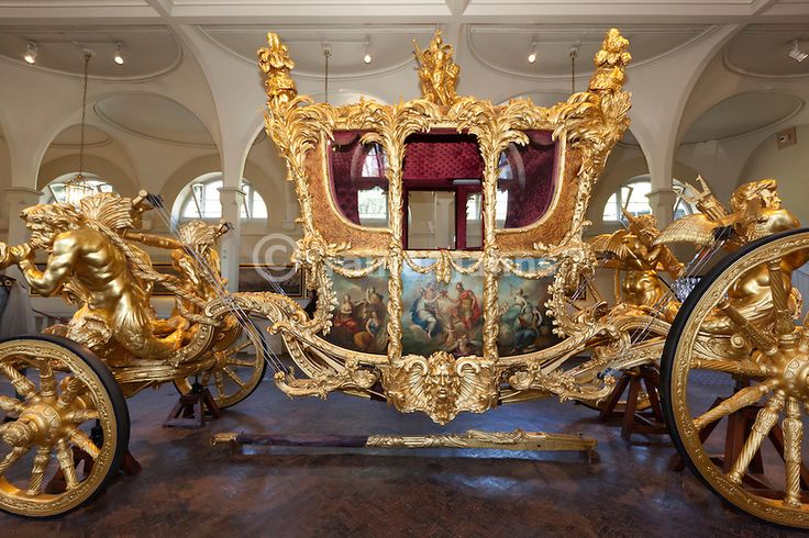 Pictures From Inside Buckingham Palace | , London: Gold State Coach inside the Royal Mews at Buckingham Palace ...