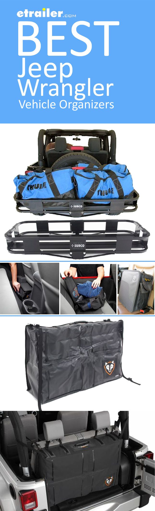 We have the best organization solutions for your Jeep Wrangler so you can pack, stow, carry and haul all of your gear. Be road trip and adventure ready with a spare tire mounted cargo carrier, underseat organizer or cargo area storage bag.