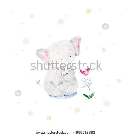 Cute card with elephant baby @knyshksenya