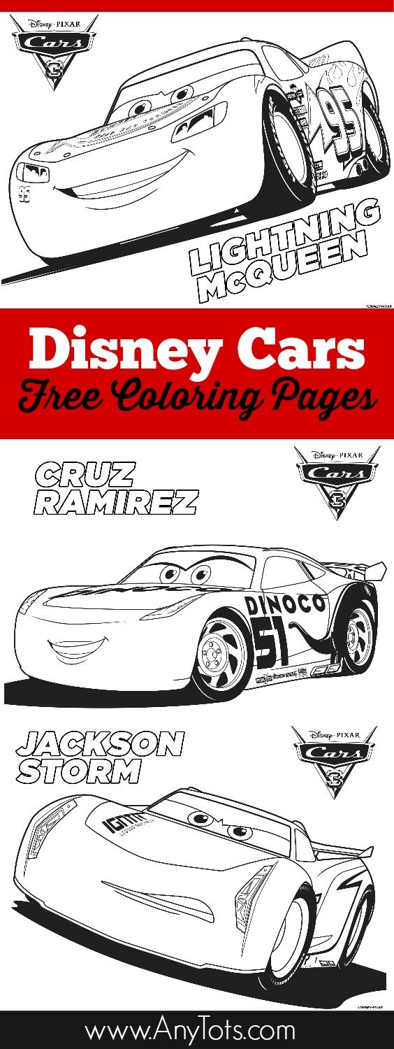 Free Printable Disney Cars Coloring Pages: Lightning McQueen, Jackson Storm and Cruz Ramirez plus bonus Disney Cars 3 Bookmark. Use them as a kids activity for a Cars Birthday Party or add them to your Cars Birthday Party Favor. More Disney Cars Free Printable on the blog, www.anytots.com