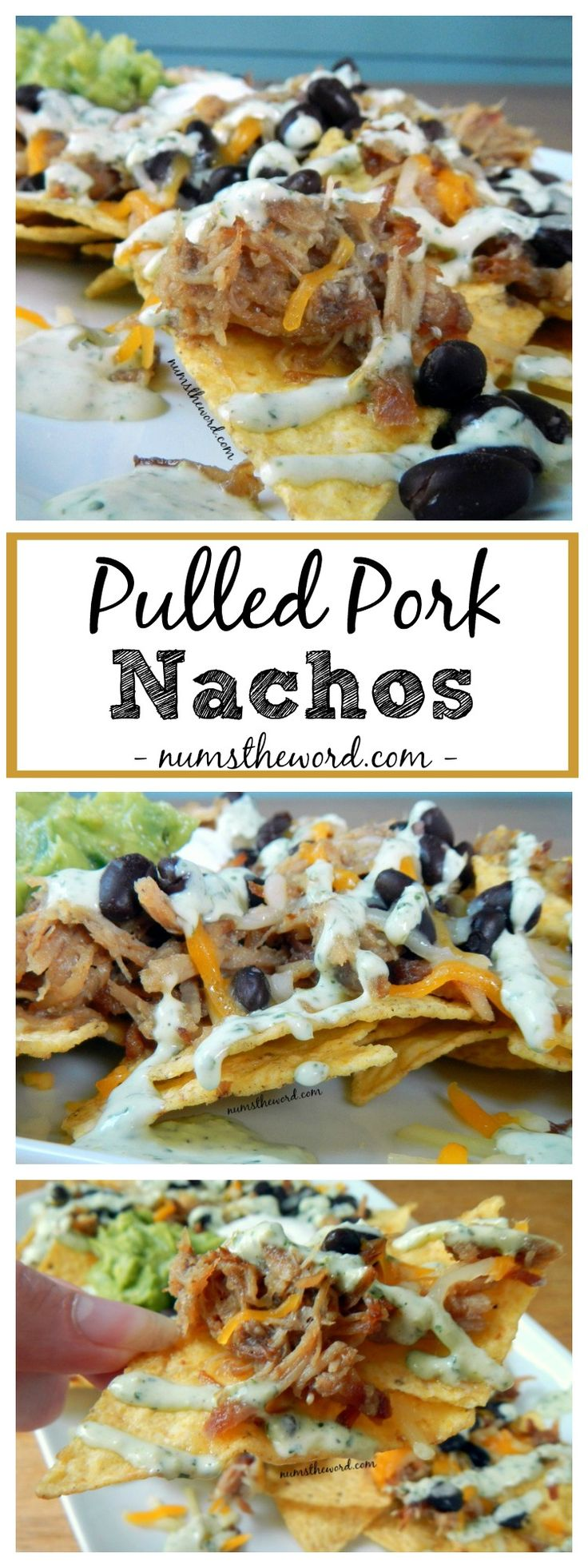 These Pulled Pork Nachos aren't your everyday Nachos. Pulled Pork, black beans, tomatoes, cheese & cilantro lime dressing make these out of this world delicious!  A great way to use up leftover pulled pork!
