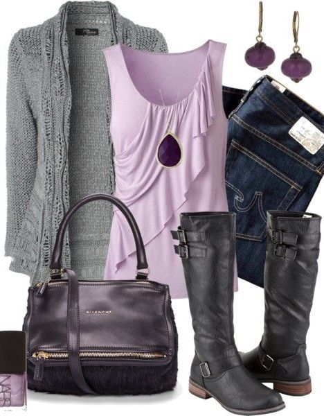 Soft ruffle tank, cardigan, and jeans