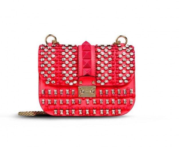Mini tracolla rossa rivestita di borchie Valentino