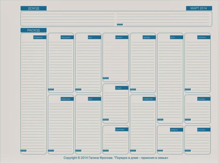 Порядок в доме - гармония в семье: Планируем бюджет на март. Бланк в подарок.