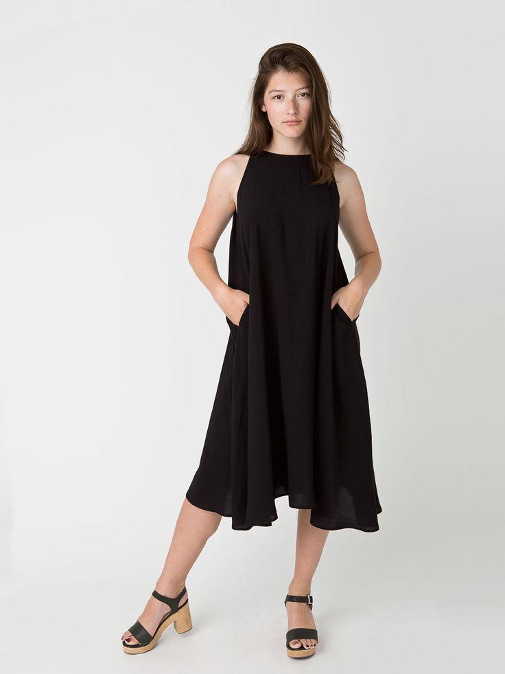 New! Rayon Challis Sleeveless Mid Length Tent Dress #AmericanApparel
