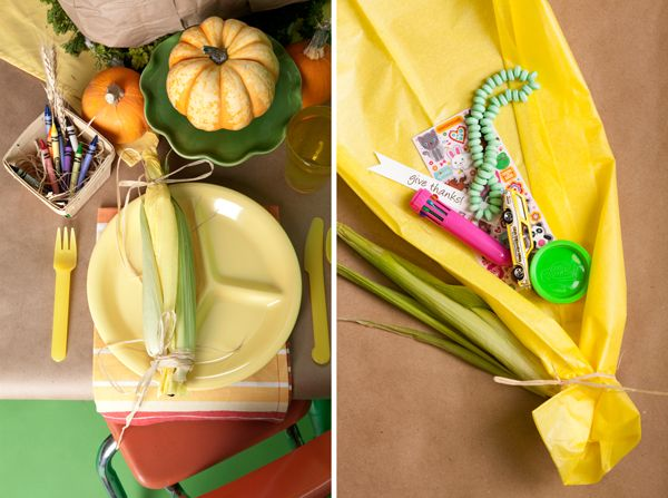 """corn place setting for Thanksgiving, when you open the corn husk there are """"treats"""" in it!"""