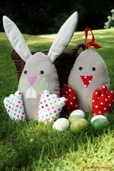 Ostern, Osterhase, Osterküken, Hase & Küken Nähen, Stoff, Türstopper, Easter, Bunny, Fabric, sewing, chick, doorstop