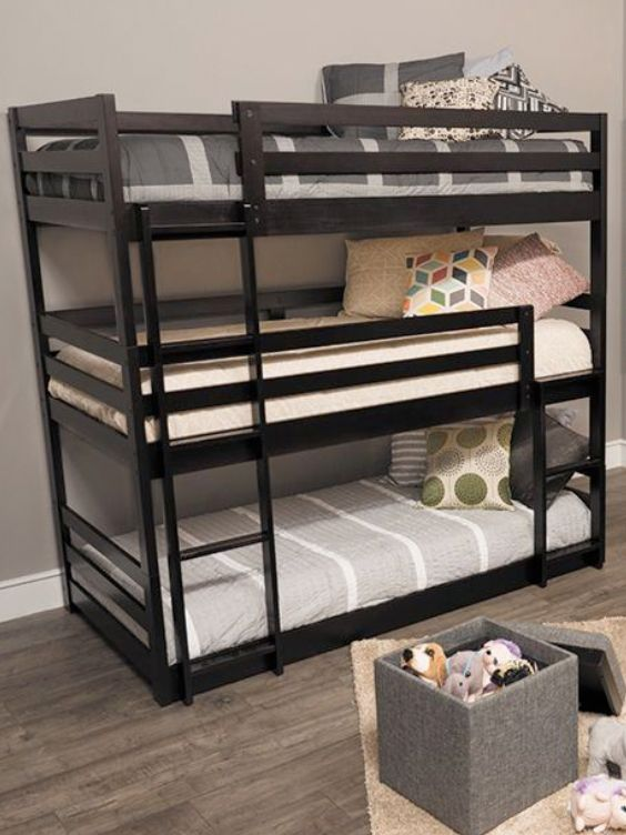 this 3tier bunk bed is perfect for growing families who need a little extra