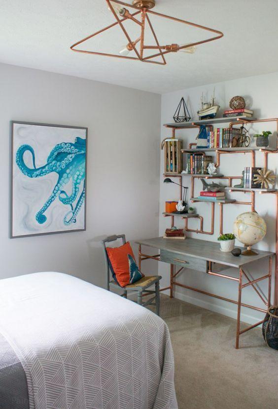 DIY ceiling light, DIY copper pipe shelves, DIY copper pip desk, DIY art, DIY cornice box, and DIY furniture! Teen Bedroom Makeover Reveal Day! One Room Challenge