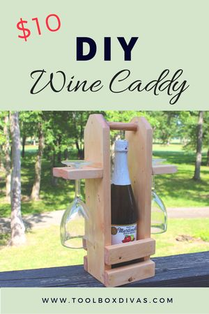DIY Wine Caddy. DIY wine caddy makes a great wedding gift, birthday gift, or it's great to simply dress up a dinner party or an afternoon picnic. Simple and easy beginner woodworking project. - ToolBox Divas