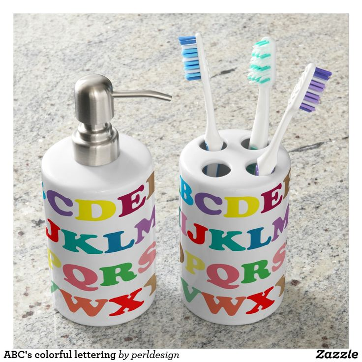 ABCu0027s Colorful Lettering Bathroom Set