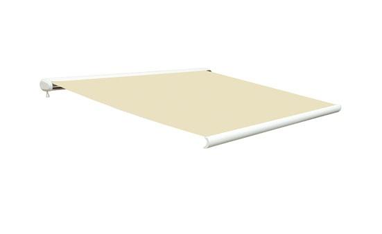 ALFA MARKISE Produktbeskrivelse Alfa kassett markise 4x3 m  Materialer Aluminium. Polyester. Stål. Produktdetaljer Delvis montert. Polyester. Hvit/beige.