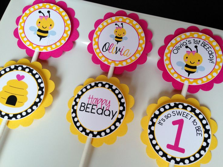 Bumble Bee Pink Birthday Party Personalized Cupcake Toppers