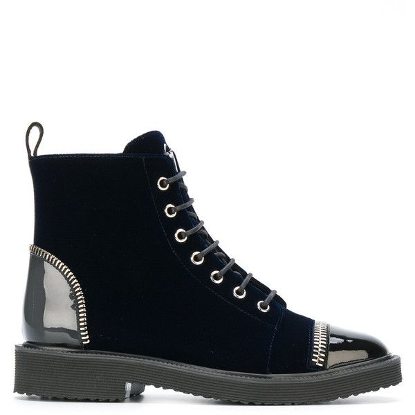 Giuseppe Zanotti Design Leather Laced Ankle Boots ($1,185) ❤ liked on Polyvore featuring shoes, boots, ankle booties, navy, leather lace up boots, leather lace up booties, leather lace up bootie, navy booties and navy bootie