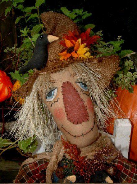 Primitive Doll Primitive Fall Scarecrow by PrimitiveArtDolls, $90.00