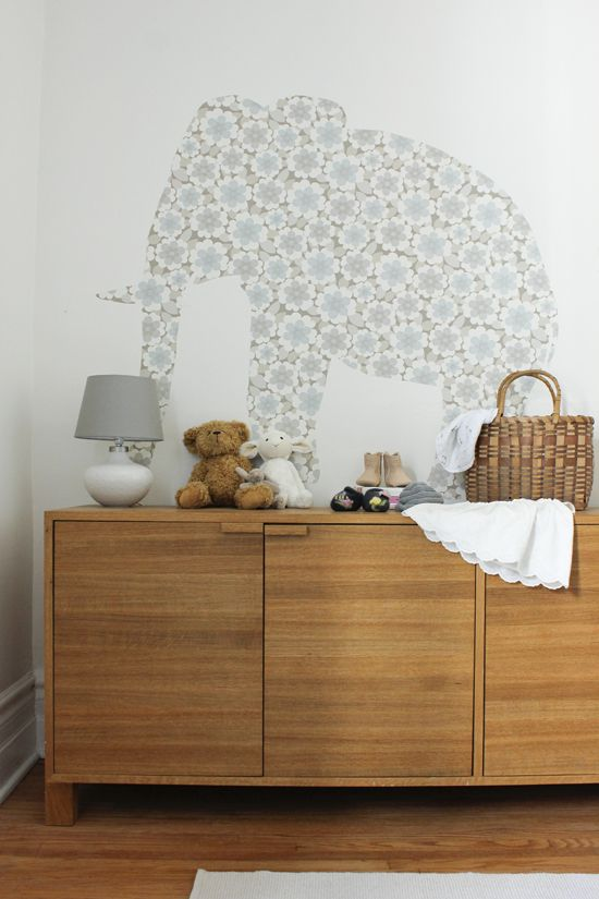 Elephant wall decals in the baby room
