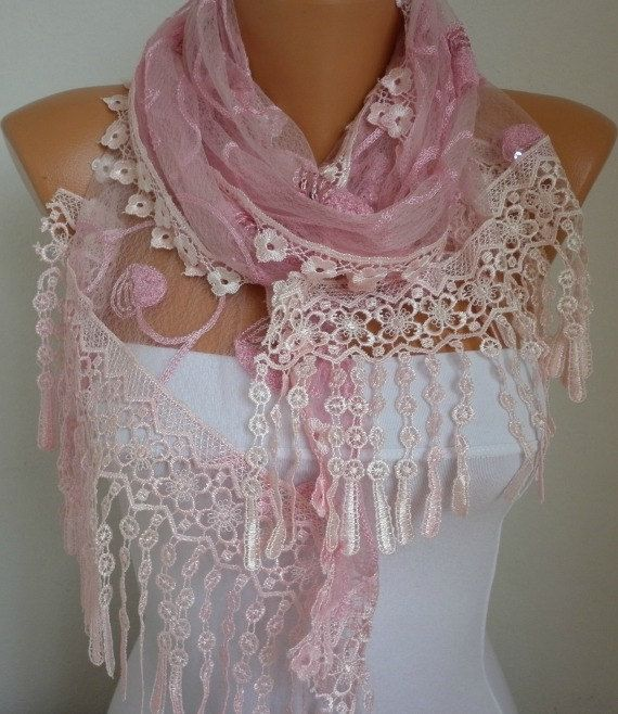 Lace Scarf   scarf shawl    Free scarf  Pink  fatwoman by anils, $25.00
