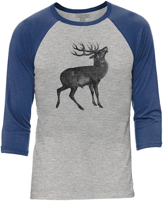 Austin Ink Apparel Big Antlered Deer Heather Grey Body Unisex 3/4 Contrast Sleeve Baseball Tee
