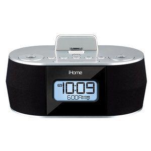 iHome Dock Alarm Clock FM Radio Speaker, Silver