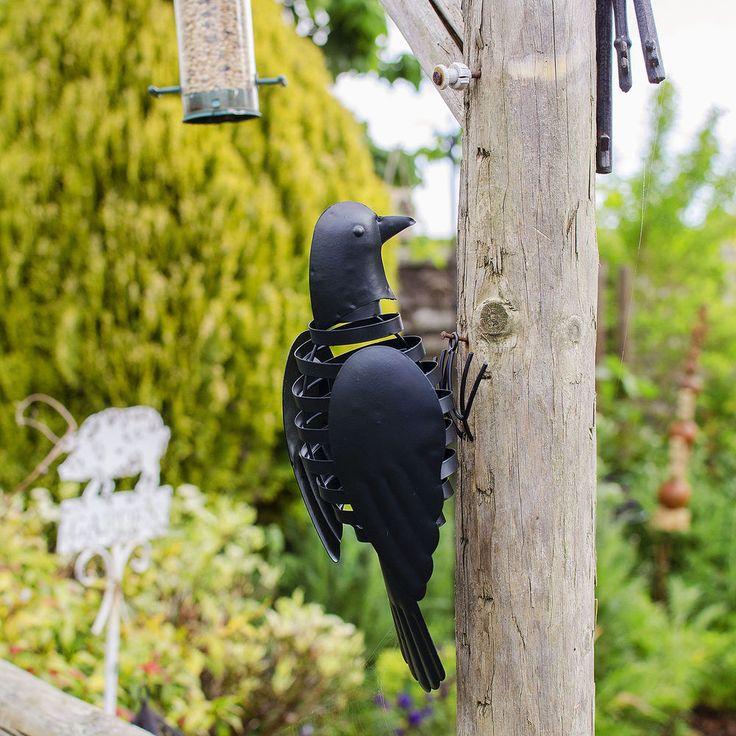 Garden Ornament Black Bird Finish Wall Mounted Metal Flapping Wing Outdoor   #Gardens2you