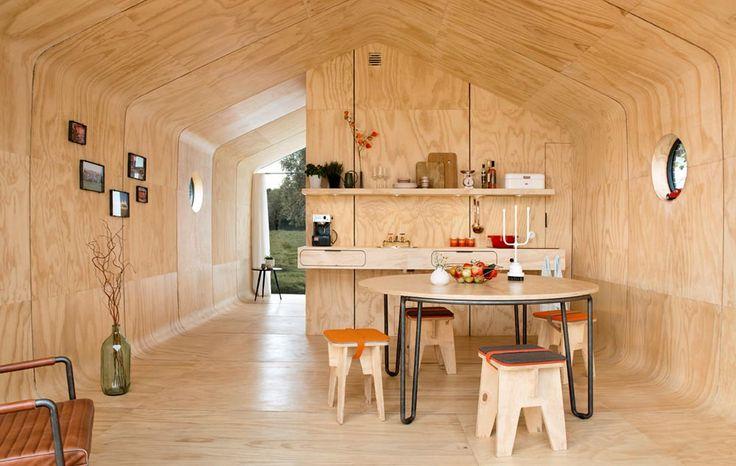 Small prefab cabin living room