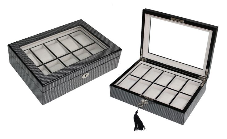 Luxury high gloss carbon fiber watch case for men wooden Watches Box organiser  $149.95  Size: 310*330*90 mm Pillow size: 45x70mm Elegant design with high gloss carbon fiber Finished Made of  timber and glossy silver hardware Store up to 10 watches Crystal Clear glass top high quality Soft  velvet