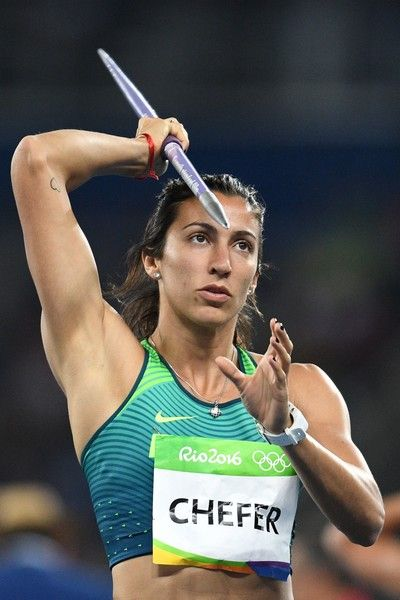 Brazil's Vanessa Chefer competes in the Women's Heptathlon Javelin Throw during…