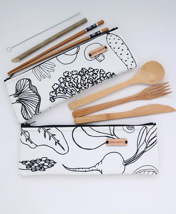 Zero waste kit Reusable Bamboo Utensils Set Zero waste bamboo