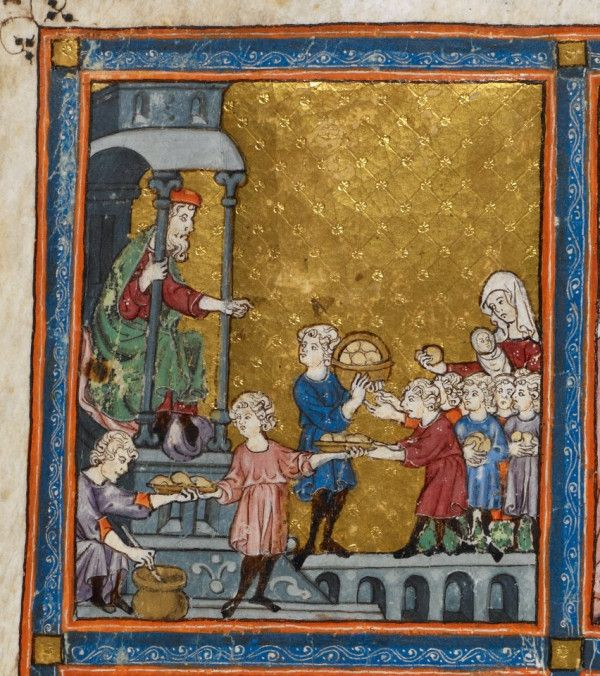 The giving of Matzoh and Charoset to the children, detail of manuscript The Golden Haggadah Catalonia 14th century