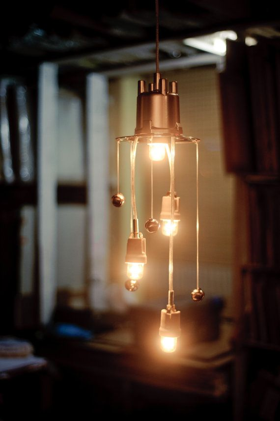 upcycled chandelier pendant night light by herywalery on Etsy