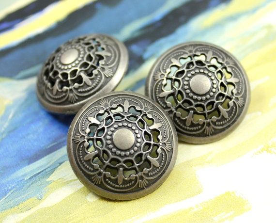 Metal Buttons  Medieval Filigree Metal Buttons  Nickel by Lyanwood