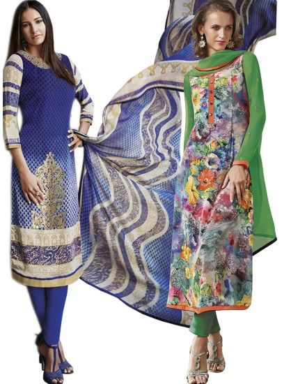 Superb Printed Crepe Straight Cut Style Blue & Multi Combo Suit D.No.- 6547,6549